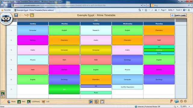Class school timetable screenshot