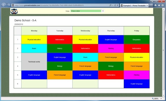 Screenshot of published timetable for class 5-A
