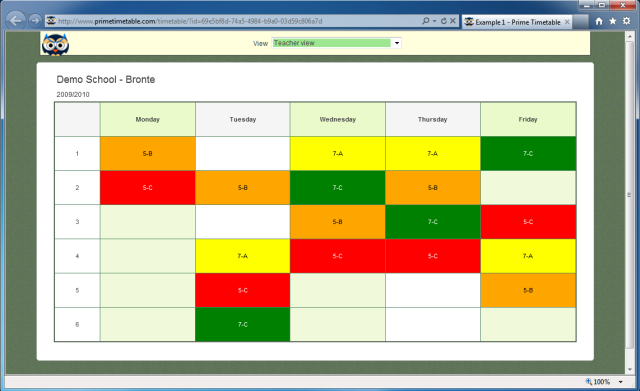 Screenshot of published timetable for teacher Bronte