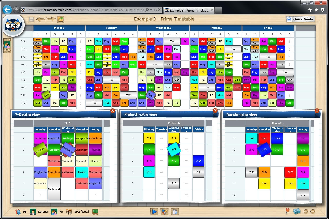 School Timetables in France Screenshot of School Timetable