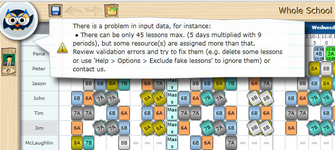 ignoring cards to use automatic timetable generator