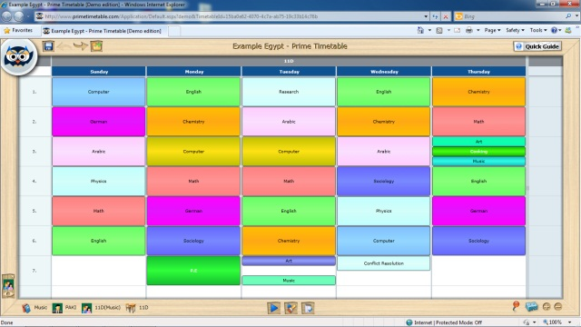 Individual timetable view